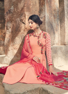 AMAZING DEEP PINK AND BRIDAL RED DESIGNER SUIT