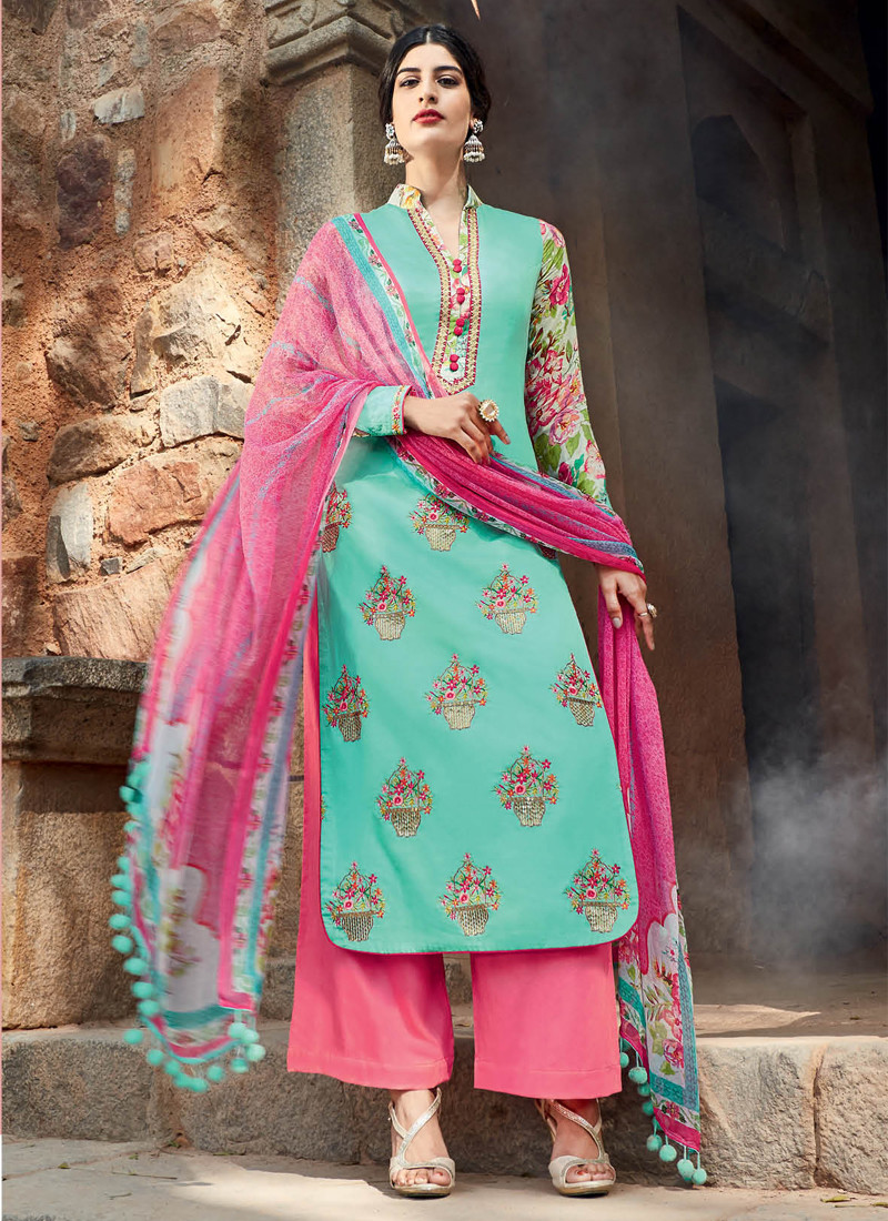 AMAZING FIROZI AND PINK EMBROIDERED PALAZZO SUIT