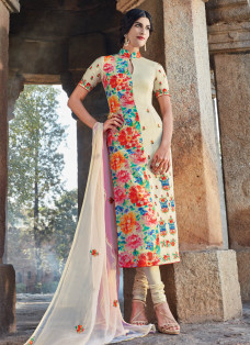 AMAZING CREAM AND PINK EMBROIDERED DESIGNER SUIT