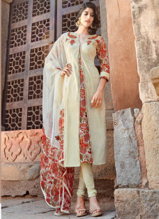 AMAZING CREAM LAYERED EMBROIDERED STRAIGHT SUIT