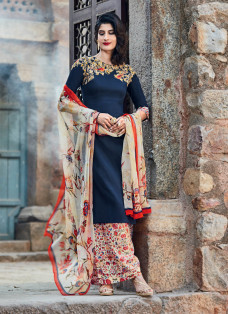AMAZING DARK BLUE EMBROIDERED PALAZZO SUIT
