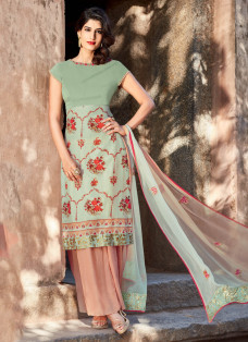 AMAZING SEA GREEN EMBROIDERED PALAZZO SUIT