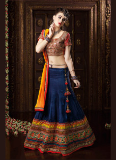GRANDIOSE NAVY BLUE AND RED PARTY WEAR LEHENGA SET