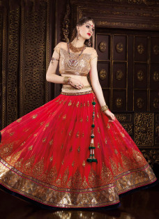 GRANDIOSE RED AND GOLDEN EMBROIDERED LEHENGA CHOLI