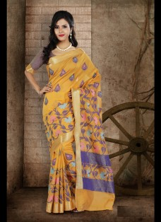 ETHNIC MUSTARD BANARASI CHANDERI SILK SAREE