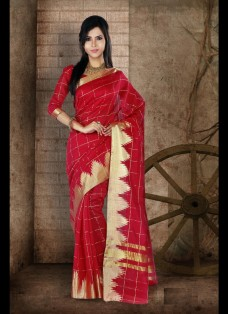 ETHNIC RED CHECKERED CHANDERI SILK SAREE