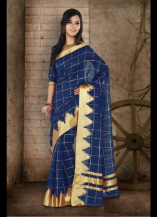 ETHNIC BLUE CHECKERED CHANDERI SILK SAREE