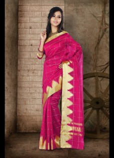 ETHNIC RANI COLOR CHECKERED CHANDERI SILK SAREE
