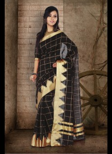 ETHNIC BLACK CHECKERED CHANDERI SILK SAREE
