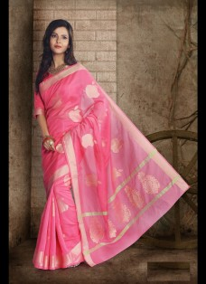 ETHNIC PINK BANARASI CHANDERI SILK SAREE