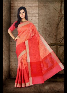 ETHNIC ORANGE AND RED CHANDERI SILK SAREE