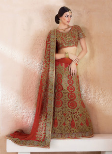 ENCHANTING RED EMBROIDERED LEHENGA SAREE
