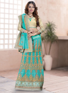 ENCHANTING AQUA BLUE EMBROIDERED LEHENGA SAREE