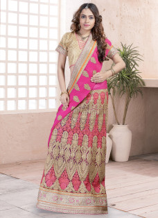 ENCHANTING PINK EMBROIDERED LEHENGA SAREE