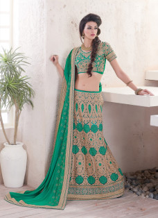 ENCHANTING GREEN EMBROIDERED LEHENGA SAREE