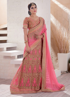 ENCHANTING LIGHT CORAL EMBROIDERED LEHENGA SAREE