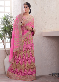ENCHANTING PINK EMBELLISHED LEHENGA SAREE