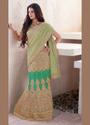 ENCHANTING LIGHT GREEN EMBROIDERED LEHENGA SAREE