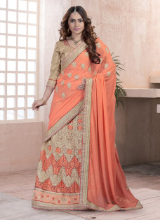 ENCHANTING ORANGE EMBROIDERED LEHENGA SAREE