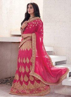 ENCHANTING DEEP PINK EMBROIDERED LEHENGA SAREE