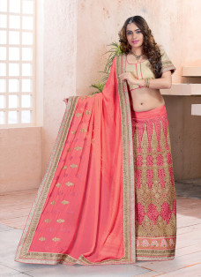 ENCHANTING SALMON EMBROIDERED LEHENGA SAREE