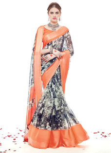 IMPRESSIVE ORANGE AND GREY PRINTED SAREE