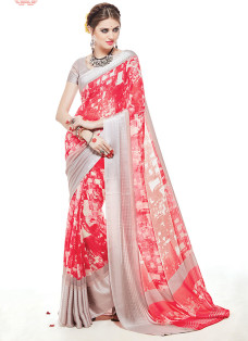 IMPRESSIVE RED AND STEEL GREY PRINTED SAREE