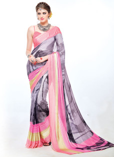 IMPRESSIVE GREY AND PINK PRINTED SAREE