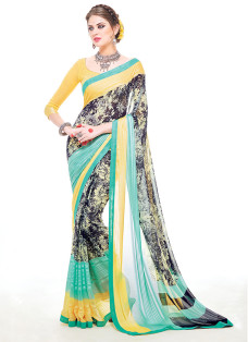IMPRESSIVE GREY AND LEMON PRINTED SAREE