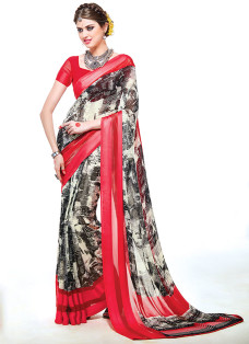 IMPRESSIVE RED AND BLACK PRINTED SAREE