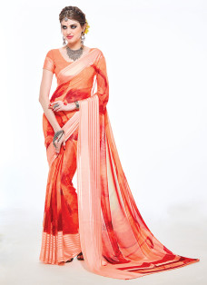IMPRESSIVE ORANGE AND RED PRINTED SAREE