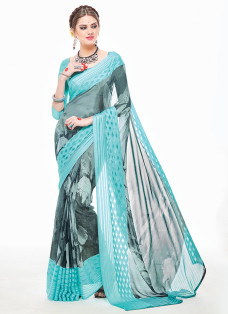 IMPRESSIVE FIROZI AND GREY PRINTED SAREE