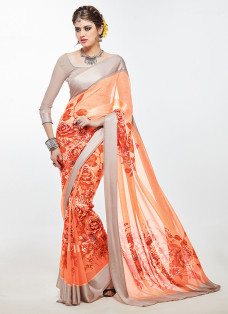 IMPRESSIVE ORANGE AND STEEL GREY PRINTED SAREE