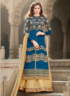 CAPTIVATING BLUE AND BEIGE LEHENGA CHOLI