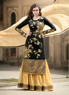 CAPTIVATING BLACK AND BEIGE LEHENGA CHOLI