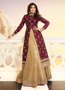 SHILPA SHETTY MAROON AND BEIGE LEHENGA SET