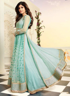 SHILPA SHETTY TURQUOISE EMBROIDERED LEHENGA SET