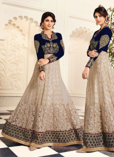 SHILPA SHETTY BLUE AND BEIGE ANARKALI SUIT