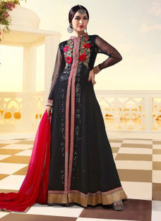 SHILPA SHETTY BLACK EMBROIDERED ANARKALI SUIT