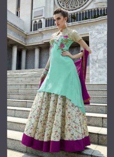 PHENOMENAL SEA GREEN EMBROIDERED LEHENGA SET