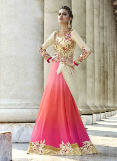 PHENOMENAL CREAM AND PINK EMBROIDERED LEHENGA