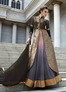 PHENOMENAL BROWN AND GREY LEHENGA CHOLI