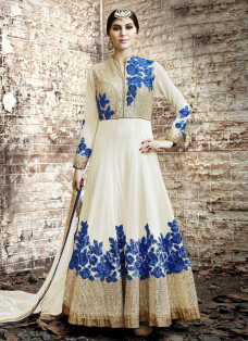 BEDAZZLING CREAM AND BLUE ANARKALI SUIT