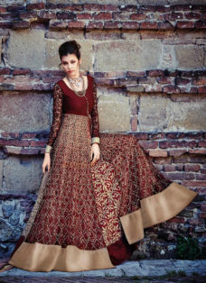 MAJESTIC MAROON EMBROIDERED GOWN STYLE SUIT