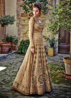 MAJESTIC BEIGE EMBELLISHED GOWN STYLE SUIT