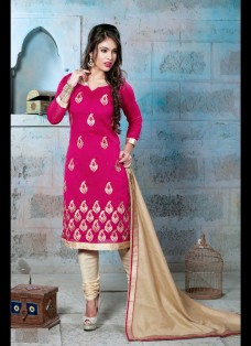 CLASSIC MAGENTA AND BEIGE EMBROIDERED SUIT