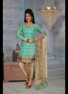 CLASSIC GREEN AND BEIGE PUNJABI CHURIDAR SUIT