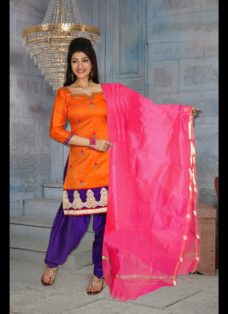 CLASSIC ORANGE AND PURPLE EMBROIDERED SALWAR SUIT