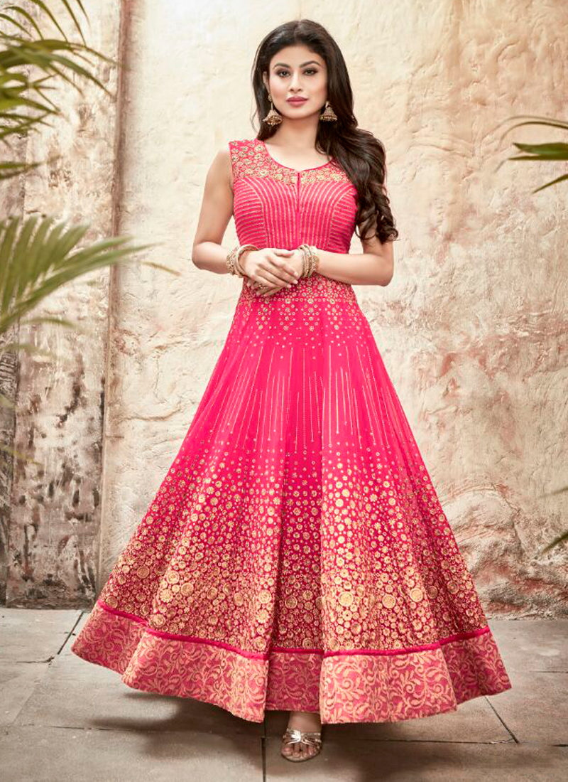 MOUNI ROY HOT PINK EMBROIDERED ANARKALI SUIT