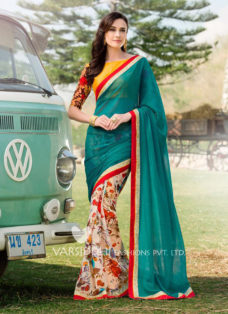 IMPRESSIVE GREEN DESIGNER PARTY WEAR SAREE